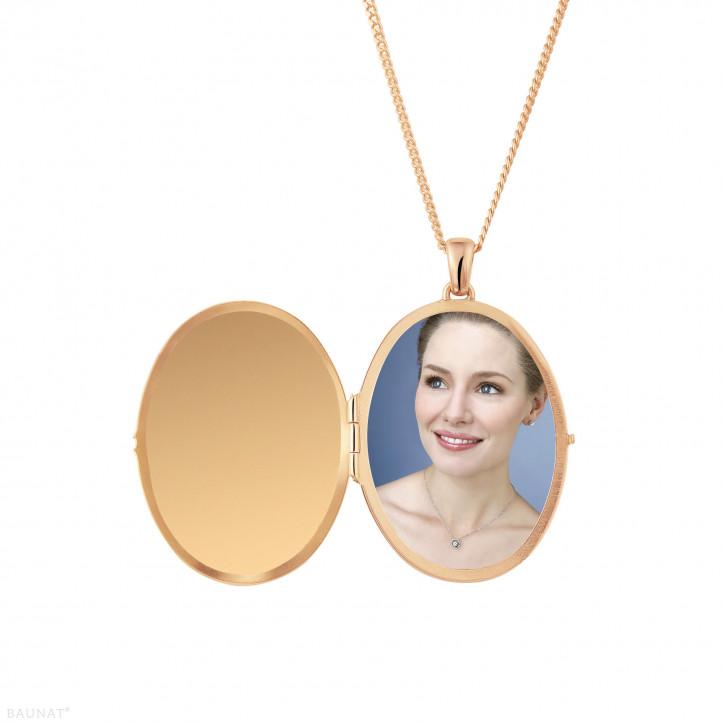 设计系列1.70克拉玫瑰金钻石照片盒式吊坠项链