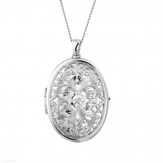 钻石盒式吊坠 - 设计系列0.40克拉白金钻石照片盒式吊坠项链