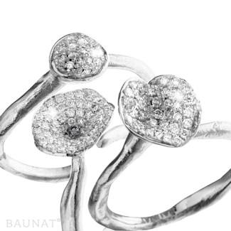 铂金钻戒 - 设计系列0.90克拉铂金钻石三环戒指