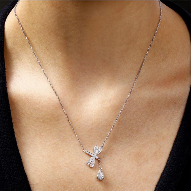 设计系列0.36克拉白金钻石蜻蜓项链