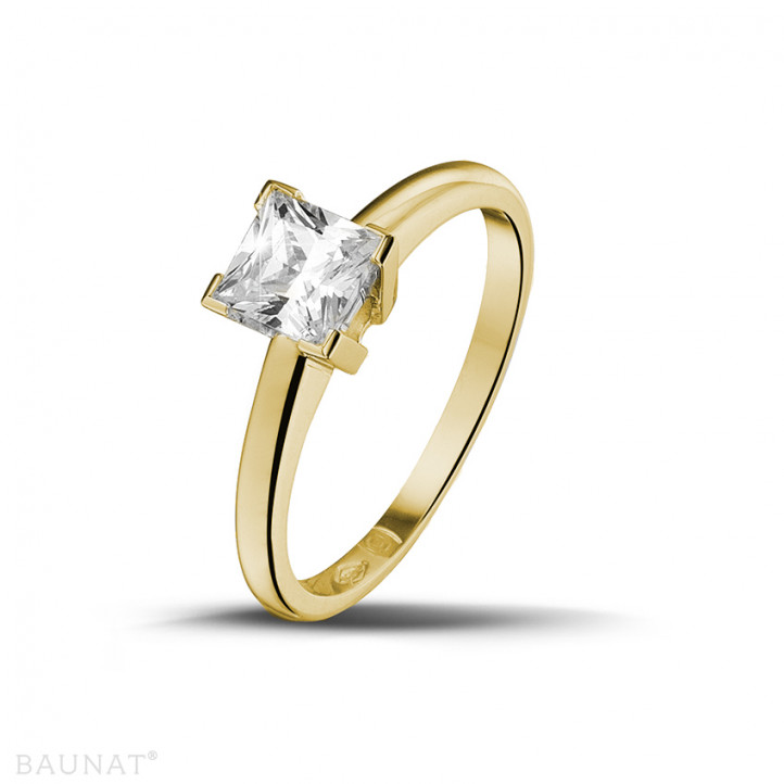 0.75克拉黄金公主方钻戒指