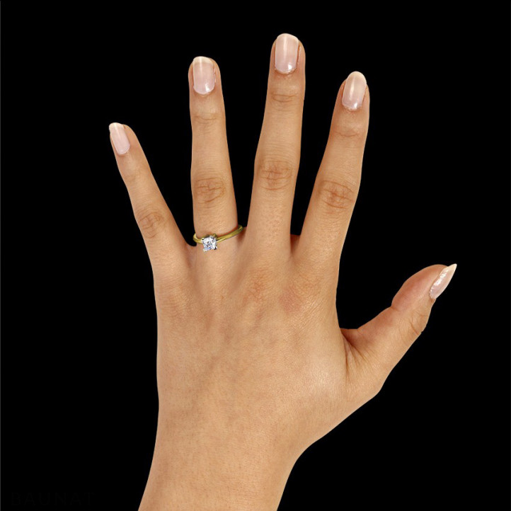 1.00克拉黄金公主方钻戒指