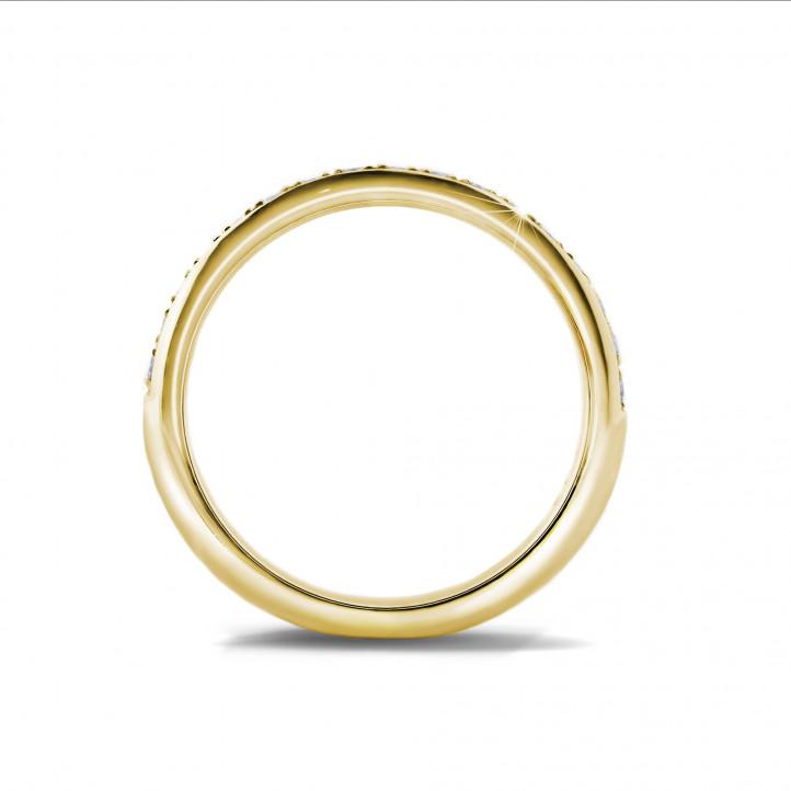 0.30 克拉黄金密镶钻石戒指(半环镶钻)