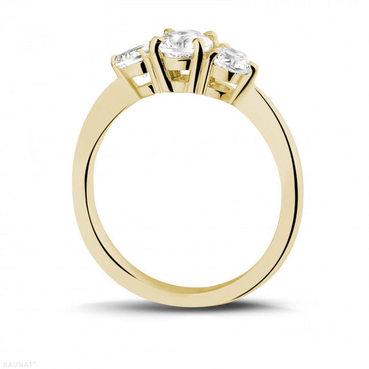 爱情三部曲1.00克拉三钻黄金戒指