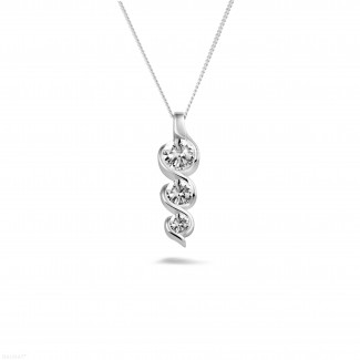 钻石项链 - 三生石0.85克拉三钻白金吊坠